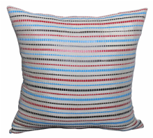 Moroccan Cushion Cover Hand Loomed Cotton with Genuine Leather Stripes 50 cm x 50 cm (A)